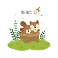 Bonne carte de fête des mères. Écureuil mère embrassant son bébé. vecteur