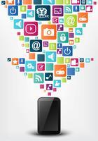 Fond de concept icône smartphone apps