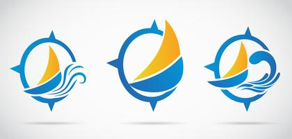 Yacht Icon set .avec vague nautique