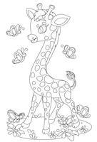 Jolie girafe jouant avec des papillons vecteur