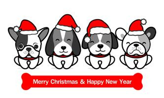 Joyeux Noël Cartoon Cute Dogs. Illustration vectorielle