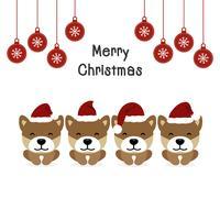 Carte de voeux joyeux Noël avec des chiens en costumes Santa Claus.