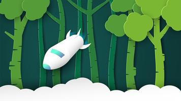 Illustration vectorielle avec concept de démarrage en papier découpé, style artisanal et origami. La fusée vole. Modèle de conception pour la bannière web, affiche, couverture, publicité. C'est de l'artisanat d'art pour les enfants. vecteur