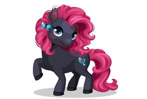 Beau petit poney noir et élégant vecteur