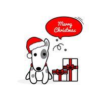 Joyeux Noël dessin animé mignon chien Terrier. Illustration vectorielle