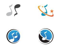 Modèle de logo et icônes de note de musique ,, vecteur