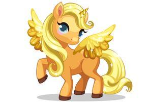 Jolie petite licorne avec une belle coiffure dorée et des ailes vecteur