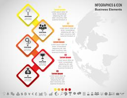 Groupe d'infographie entreprise sur la carte du monde. les icônes de la carte du monde et du marketing peuvent être utilisées pour la disposition, le diagramme, le rapport, le. vecteur