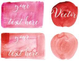 Ensemble de tache d'aquarelle. Des taches sur un fond blanc. Rectangle, tache, cercle. Abstrait. Rouge, rose Isolé. Vecteur.
