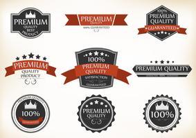 Étiquettes de qualité supérieure et de garantie avec style rétro vintage