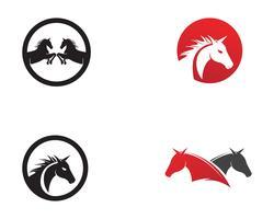 Tête de cheval noir Logo Template Vecteur