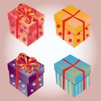 élément de boîte cadeau mixte vecteur