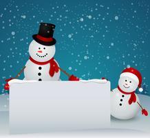 Carte de voeux de Noël avec famille de bonhommes de neige