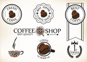 Ensemble d'étiquettes et insignes de café rétro vintage