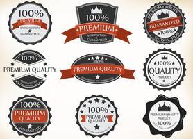 Étiquettes de qualité supérieure et de garantie avec style rétro vintage vecteur