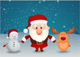père noël, renne, bonhomme de neige, tenant mains vecteur