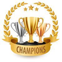 Trophées réalistes d'or, d'argent et de bronze avec guirlande de lauriers d'or et ruban, Illustration vectorielle