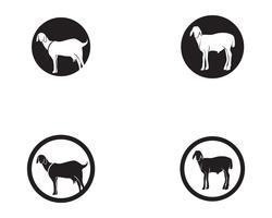Modèle de logo et symboles vectoriels animaux chèvre noir vecteur