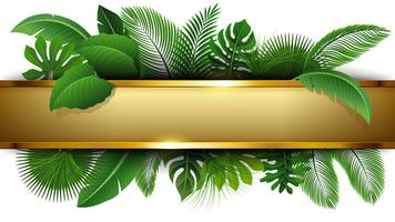 Bannière dorée avec espace de texte de congés tropicaux. Convient pour le concept de la nature, les vacances et les vacances d'été. Illustration vectorielle vecteur