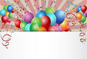 Carte d'anniversaire fête avec ballon coloré vecteur