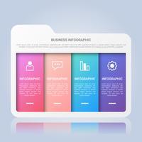 Modèle d'infographie de dossier avec étiquette multicolore en quatre étapes
