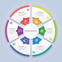 Modèle d'infographie de cercle 3D avec six options pour la disposition du flux de travail, diagramme, rapport annuel, conception Web