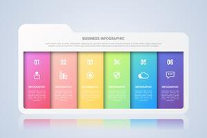 Modèle d'infographie de dossier avec étiquette multicolore en six étapes