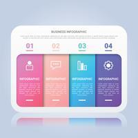 Modèle d'infographie commerciale moderne avec étiquette multicolore en quatre étapes