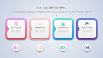 Modèle d'infographie moderne 3D pour les entreprises avec une étiquette multicolore en quatre étapes