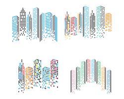 Toits de la ville moderne. silhouette de la ville. illustration vectorielle en appartement