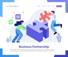 Partenariat d'affaires atterrissant fond de vecteur de page.