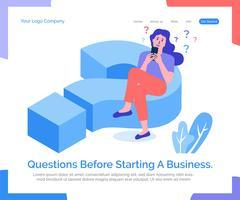 Questions avant de démarrer une entreprise. vecteur