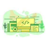 développeur web moderne illustration couleur vert plat vecteur