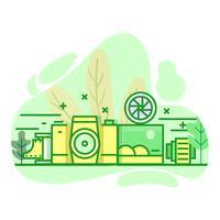 illustration de couleur vert plat moderne photographie