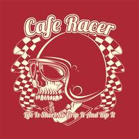crâne casque café racer main dessin vectoriel
