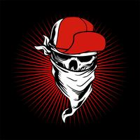 crâne portant casquette et bandana..vector main dessin, conceptions de chemise, motard, disque jockey, gentleman, barbier et beaucoup d'autres. isolé et facile à modifier. Illustration vectorielle - vecteur