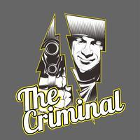 le criminal.man tenant le dessin à la main de gun.vector, la conception de la chemise, le motard, le disque jockey, le gentleman, le barbier et bien d'autres. isolé et facile à modifier. Illustration vectorielle - vecteur