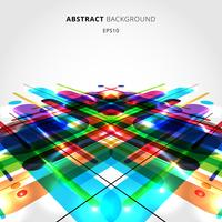 Composition dynamique de mouvement abstrait composé de différentes lignes de formes arrondies colorées sur fond de perspective. vecteur
