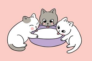 Dessin animé mignon chats boivent le vecteur du lait.