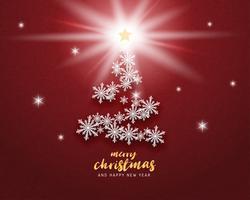 Joyeux Noël et bonne année carte de voeux en papier coupé style arrière-plan. Illustration vectorielle Flocons de neige fête Noël sur fond rouge pour bannière, flyer, affiche, papier peint, modèle. vecteur