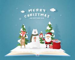 Joyeux Noël et bonne année carte de voeux en papier coupé style. Illustration vectorielle Fond de célébration de Noël avec le père Noël et le renne. Bannière, flyer, affiche, papier peint, modèle.