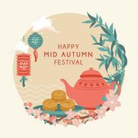Mi Festival d'automne avec théière mignonne, gâteau de lune, lanterne, lapin, bambou, fleur de cerisier, festival Chuseok / Hangawi. Jour de Thanksgiving, vecteur - Illustration
