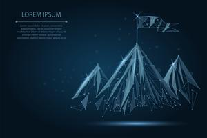 Drapeau filaire Low Poly au sommet de la montagne. Succès en affaires, symbole du sommet ou de l'objectif vecteur