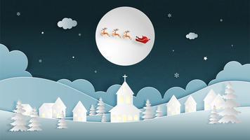 Joyeux Noël et bonne année carte de voeux en papier coupé style. Illustration vectorielle Fond de célébration de Noël avec le père Noël et le renne. Bannière, flyer, affiche, papier peint, modèle. vecteur