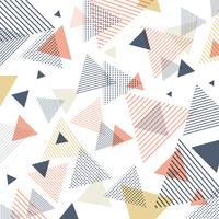 Modèle abstrait moderne de triangles bleus, orange, jaunes avec des lignes en diagonale sur fond blanc.