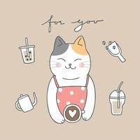 Vecteur de chat et café mignon de bande dessinée.