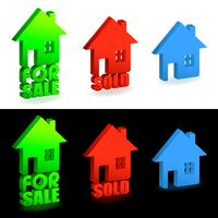 Maison à vendre et signes vendus vecteur