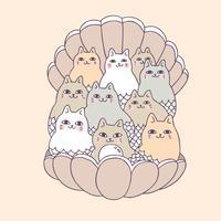 Dessin animé mignon chat et shell vetcor.