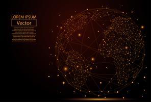 Image abstraite d'une planète Terre composée de points, de lignes et de formes. Connexion réseau globale. Concept de composition de point de la carte du monde et de la ligne de commerce mondial. Illustration vectorielle vecteur