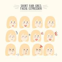 Ensemble d'expressions faciales de la jolie fille de cheveux blonds Kawaii vecteur
